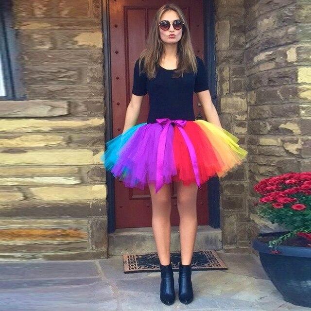 867eaff86 Halloween Rainbow Mini Tutu Skirts For Yong Lady With Ribbon Sash Elastic  Short Lovely Maxi Skirt Tulle Skirts For Women Saias