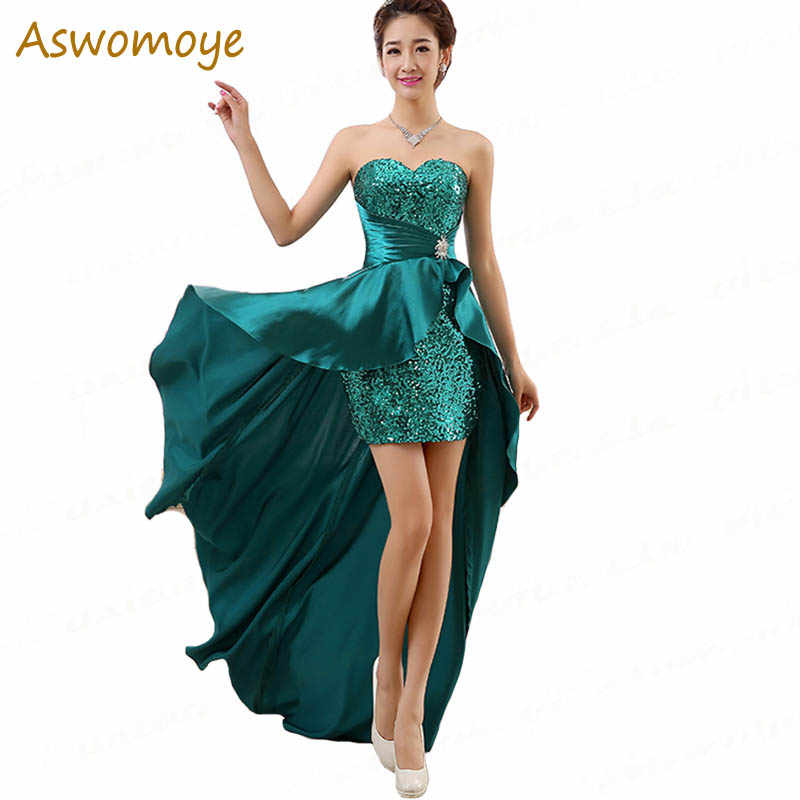 Aswomoy Stunning Evening Dress 2018 Short Front Long Back Sequins Prom Dress  Wedding Party Dress vestido 99fbe0059563
