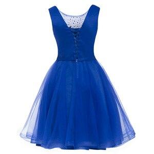 Image 2 - Dressv appliques robe de cocktail bleu marine foncé encolure dégagée sans manches longueur au genou une ligne perles retour robes de cocktail courtes