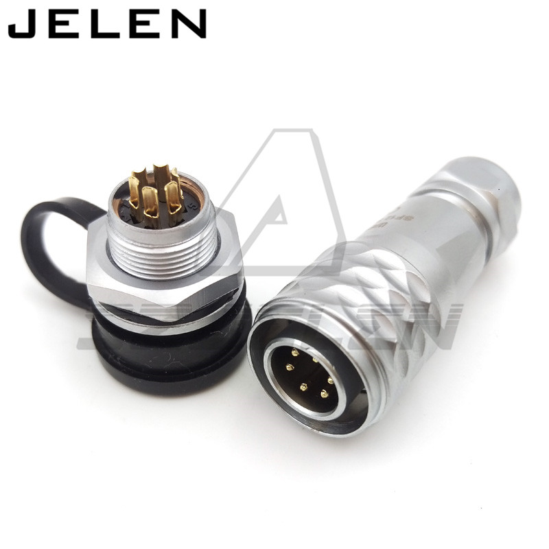 Original WEIPU SF12 series 12mm waterproof connector 6 pin plugs and sockets, LED Panel Mount Power Cable Connectors