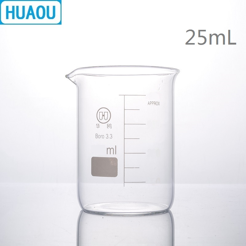 HUAOU 25mL Glass Beaker Low Form Borosilicate 3.3 Glass With Graduation And Spout Measuring Cup Laboratory Chemistry Equipment