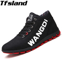 Tfsland New Men Awesome Leather Sneakers Leisure Spring Autumn Warm Long Plush Walking Shoes Male Comfortable