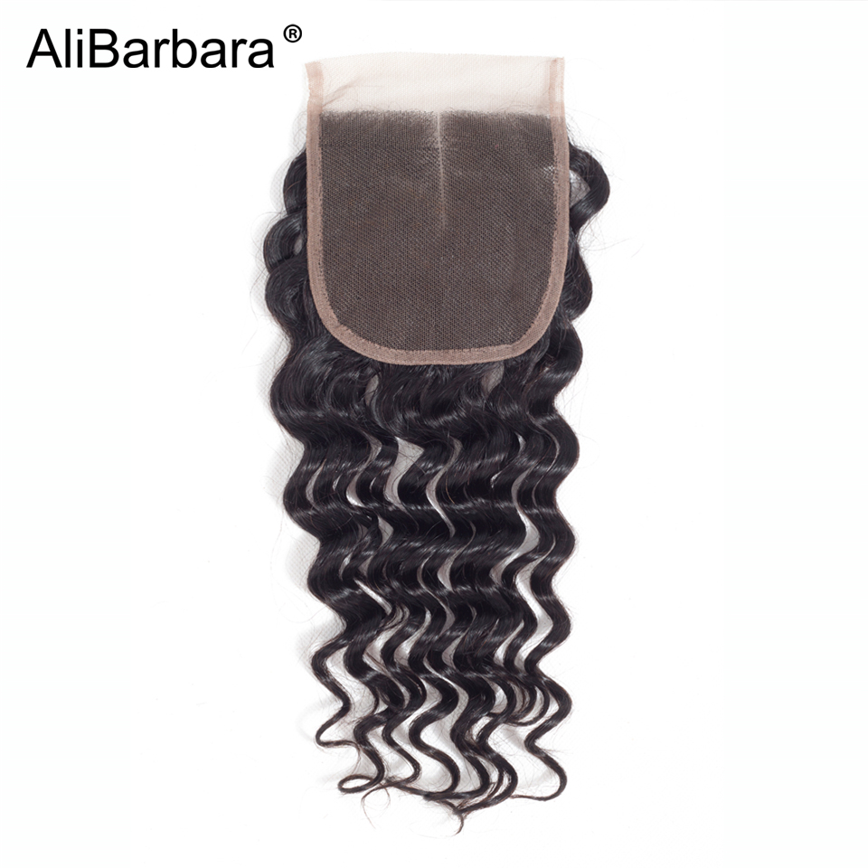 Alibarbara Hair 4x4 Lace Closure Brazilian Deep Wave Remy Human Hair Swiss Lace Closure Free Part 120% Density 8-20inch