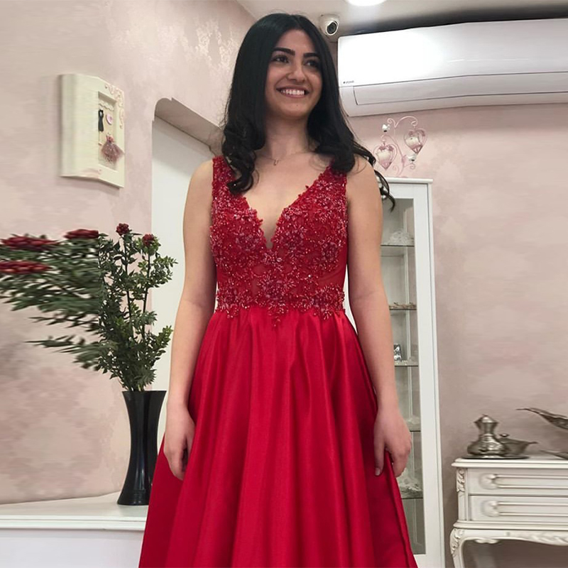 Sexy Red   Prom     Dresses   Deep V-Neck Sleeveless Applique Beaded 2019 New Evening Party Gowns Satin A-line Elegant   Prom   Gowns