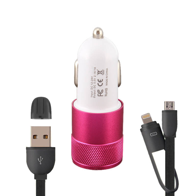 Mobile Phone Accessories Car Charger Set, Dual USB Car-Charger with One Piece Black 2 in 1 USB Charging Data Cable