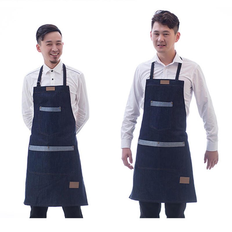 Unisex Fashion Apron Denim Cooking Apron Kitchen Chef Workwear Hotel Uniform New