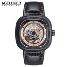 Agelocer Brand Relogio Masculino Automatic Watch 100 Cowhide Watchband Sport Wrist Watch Men Stainless Steel Waterproof