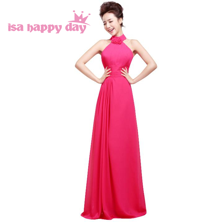 Hot Pink Simply Halter A Line Lace Up Pretty Long 2019 And 2018 Prom Dress 15 Birthday Party Gowns Dresses Under 100 H1178