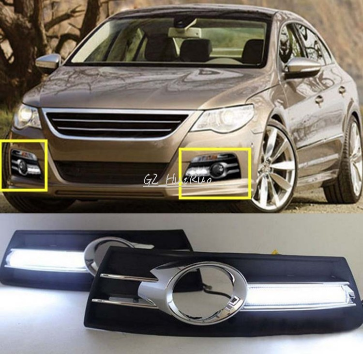 ФОТО 2PCS White LED Daytime Running Lights DRL for VW Volkswagen CC 2009-2012