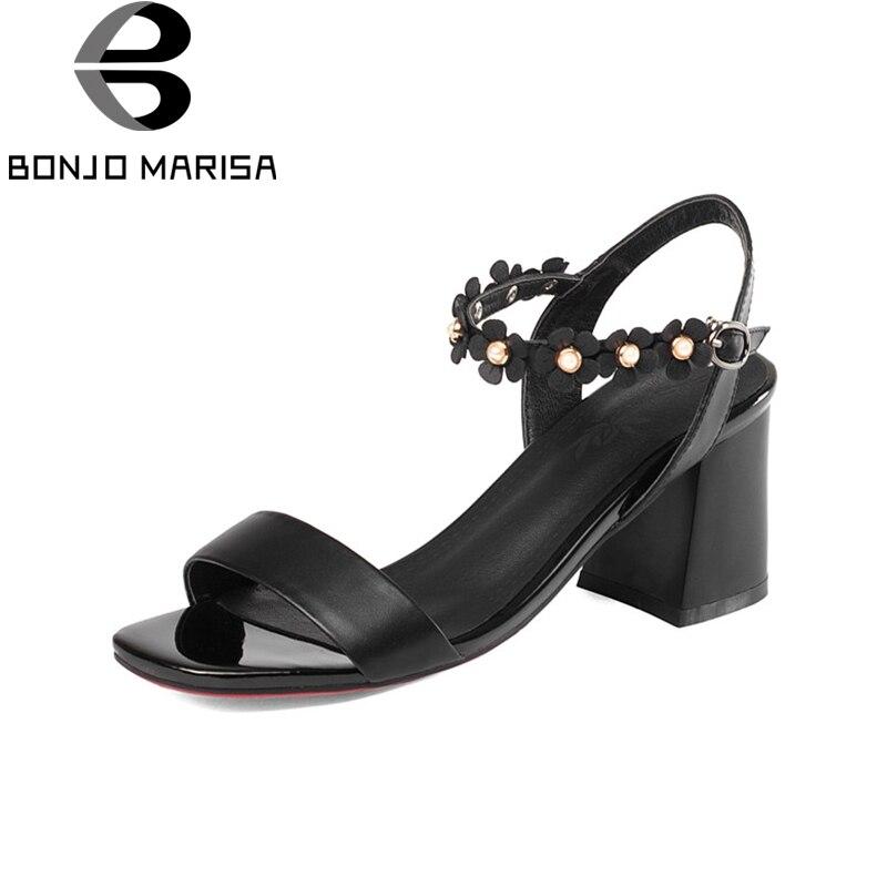 BONJOMARISA/Для женщин украшенные цветами обувь на высоких квадратных каблуках Летняя обувь с ремешками на щиколотке женская обувь из натуральн...