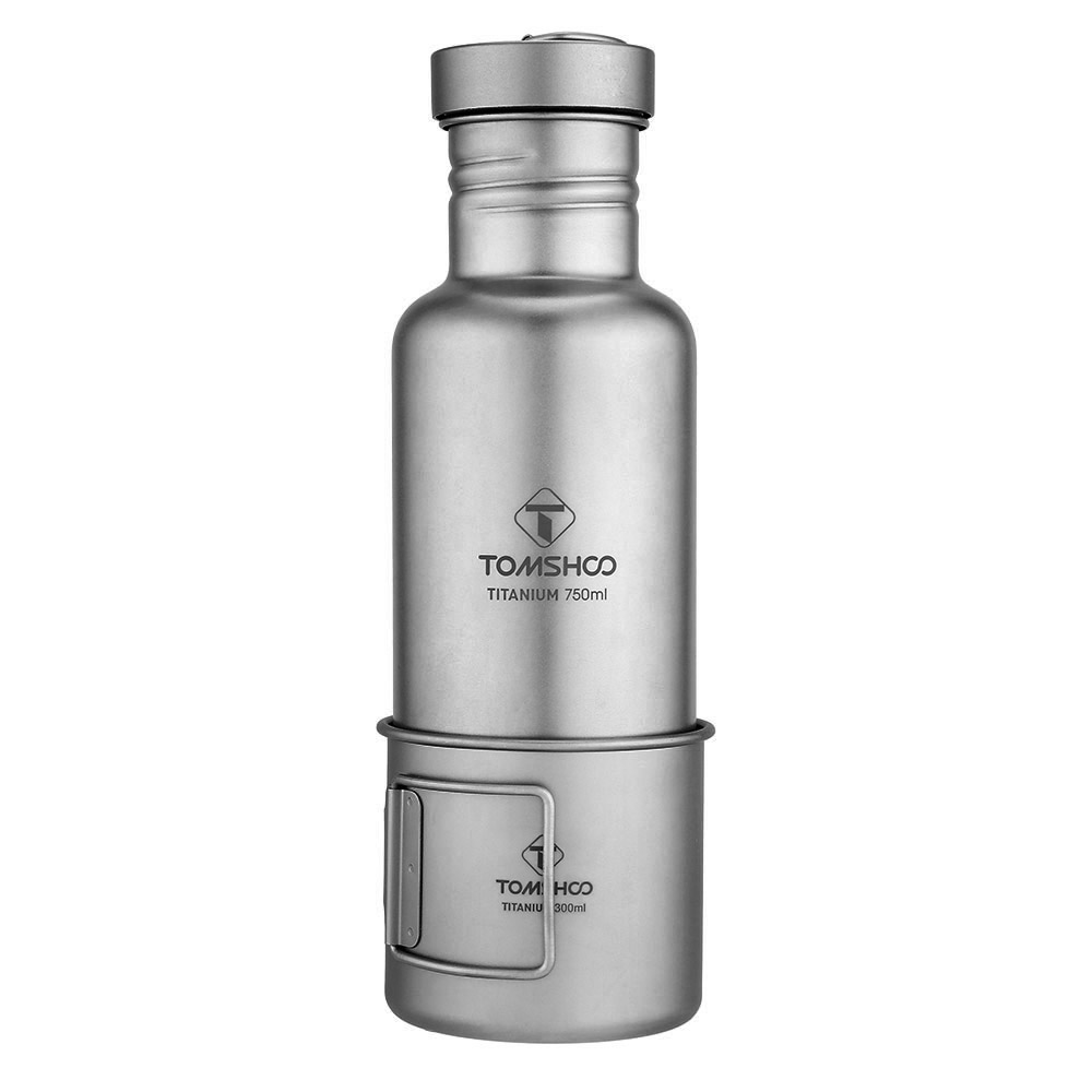 Image 2 - Lixada Outdoor Tableware 300ml/750ml Titanium Water Bottle with Extra Plastic Lid Ultralight Outdoor Camping Hiking Cycling-in Outdoor Tablewares from Sports & Entertainment