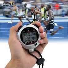 SAUT 1/100 Seconde Précision LCD Chronographe Numérique Sport Chronomètre De Poche Chronomètre avec la Courroie Couleur Argent MB009-S4747