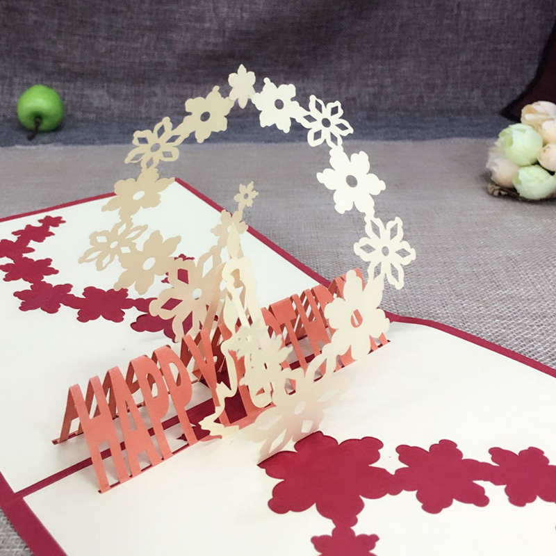 1pcs 3d Pop Up Greeting Cards With Envelope Laser Cut Post Card For Birthday Christmas Valentine Day Party Wedding Decoration