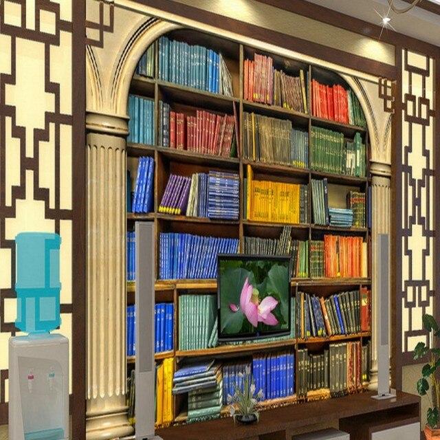 photo wallpaper Bookshelf books TV background wall mural living room bedroom high quality custom wallpaper mural