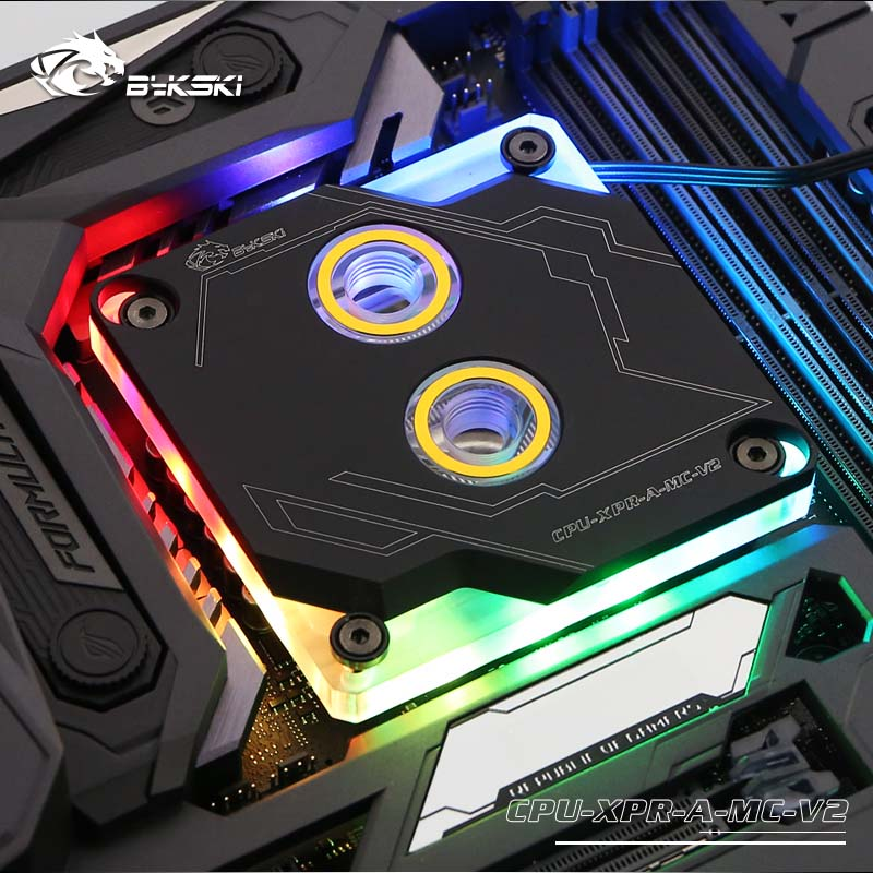 Bykski CPU Water Block for Intel 115X 1366 2011 <font><b>2066</b></font> Black/Silver RBW(5V) water cooler Liquid Cooling image