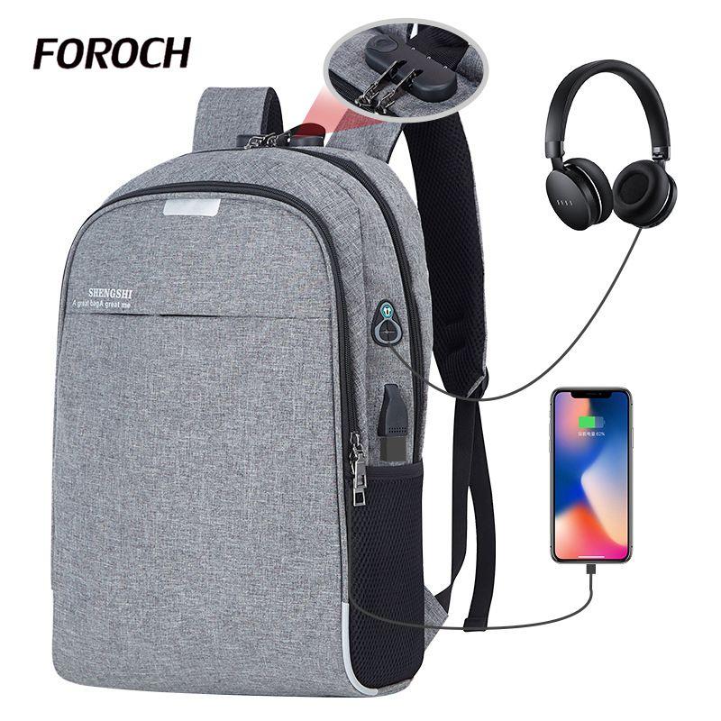 Homens mochila de laptop de carregamento usb do computador sacos de estilo grande bagpack mochilas casuais masculino saco de viagem de negócios saco um dos de volta pack