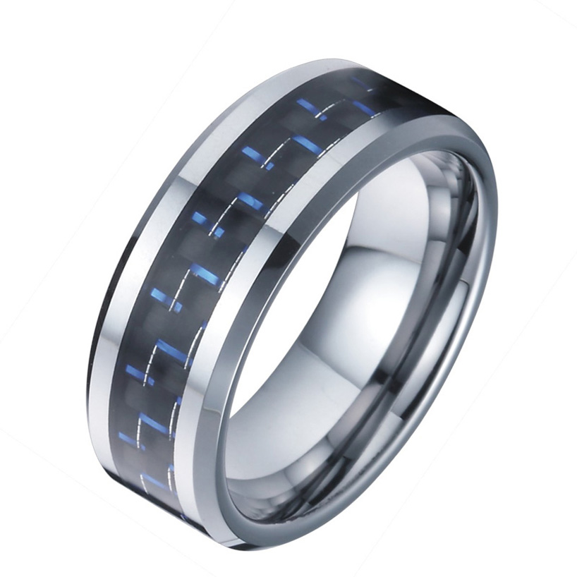 6mm tungsten rings designs wedding band for men and women blue carbon jewelry accessories wholesale china TK016M (3)