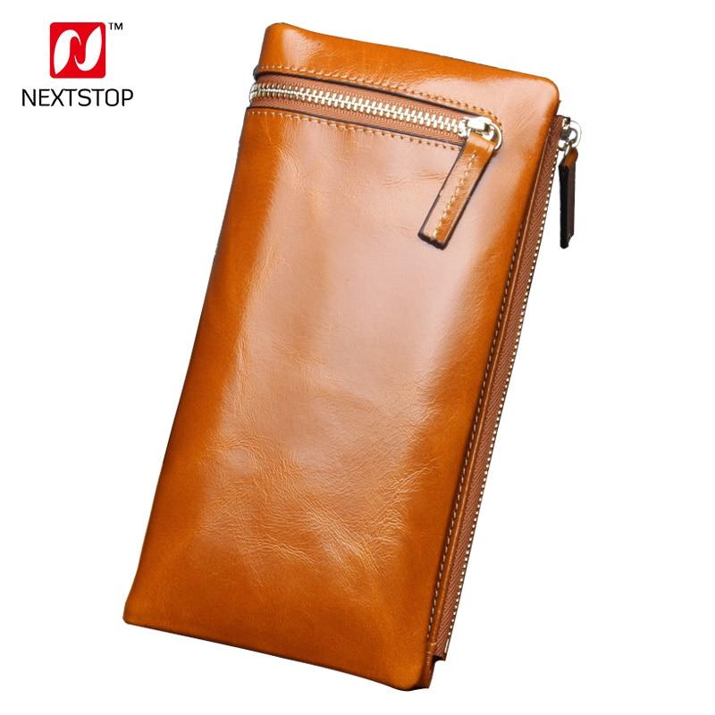 все цены на NEXTSTOP Wallet Brand Genuine Leather Women Wallets Female Card Holder Long Lady Clutch Carteira Feminina Coin Purse Blue N8803