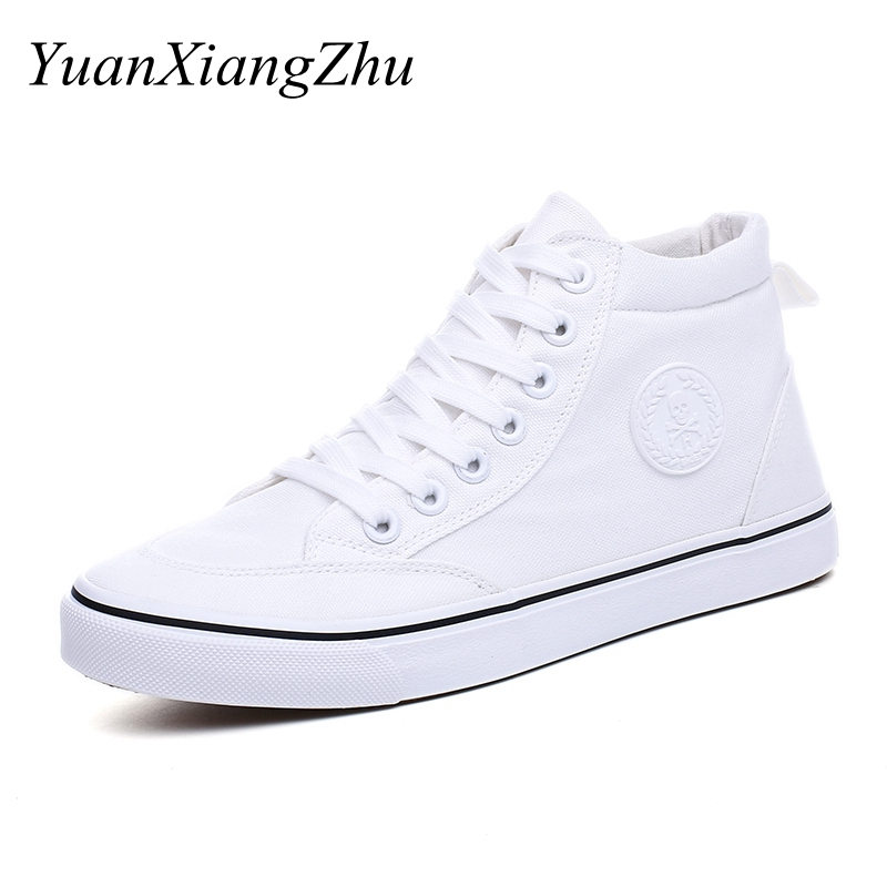 High Top Men Casual Shoes Fashion Black/White Canvas Mens Shoes Breathable Lace-up Flats 2018 Summer Sneakers Men Vulcanize Shoe 2017 new chaussure homme mens shoes casual leather vulcanize hip hop white men platform summer hot sale breathable black shoes