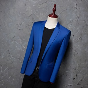Image 3 - PYJTRL ブランドファッションカジュアルファッションレジャースーツのジャケットのコートロイヤルブルー男性ブレザースリムフィットデザイン Masculino ステージ衣装歌手