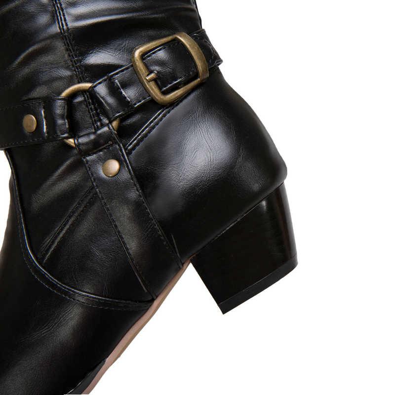 Siyah Kahverengi Haki Kovboy Çizmeleri Kadınlar için Retro Batı Botları Moda Toka Kayış Orta Buzağı Çizmeler Kış Hımbıl yarım çizmeler 2019