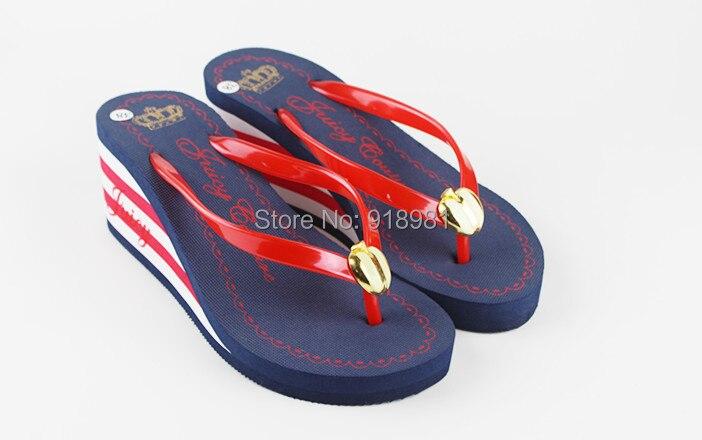 2015 new summer women flip flops slippers female Gingham high heels Dress sandals platform wedges beach Shoes - Sien's Brand Store store