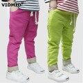 3-8Y Korean boy pants girls long pants children's candy-colore linen trousers casual pants thin models wild 1036D