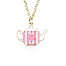 Fashion White Pink Teapot Kettle Heart Pendant Necklace Female Zinc Alloy Metal Christmas Gift Jewelry