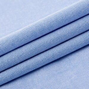 Image 5 - LANGMENG 100% Baumwolle einfarbig Herren Langarm kleid shirt männer Gestreifte Oxford Hemd Hohe Qualität Slim Fit Marke Casual shirts