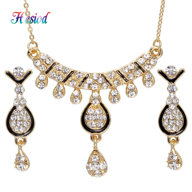 Hesiod Costume Women Jewelry Sets Full Crystal WaterDrop Pendant Necklaces  with Black Enamel Drop Earring Gold Color Jewelry Set 792e918908ba