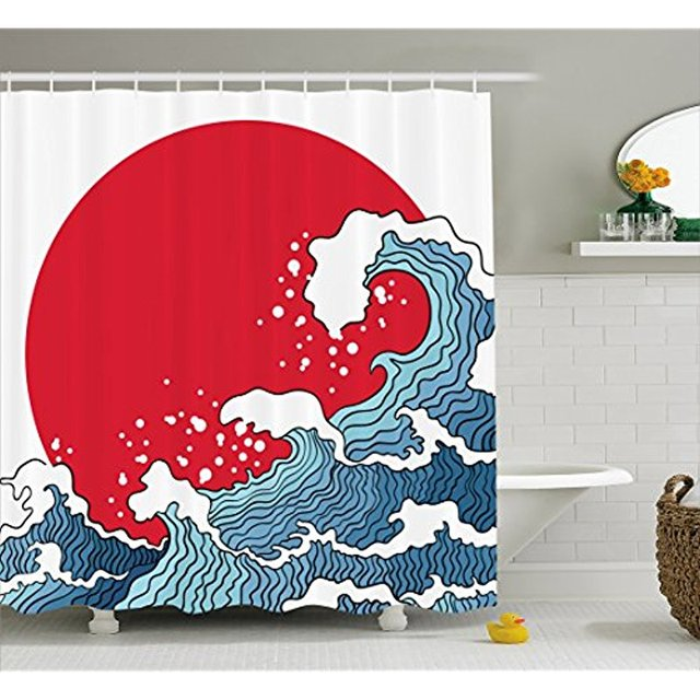 Vixm Japanese Wave Shower Curtain Big Red Sun Setting Scenery Tropical Nautical Artistic Tsunami Swirls Fabric