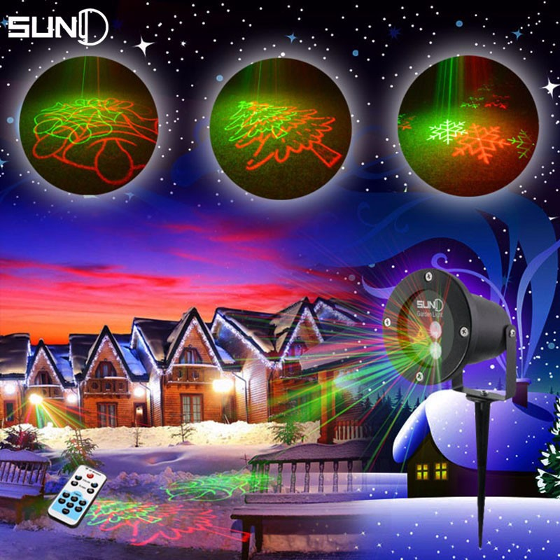 christmas outdoor laser lights projector 8 patterns rg waterproof snowflake xmas tree garden decoration show lighting for home in stage lighting effect from - Christmas Outdoor Projector