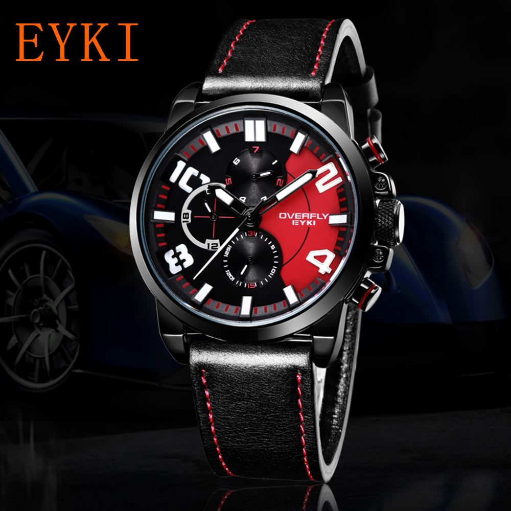 EYKI Luxury Brand men Wristwatches Casual Sport Watches For Men Quartz Leather Military Wrist watches Male Clocks .Roloj