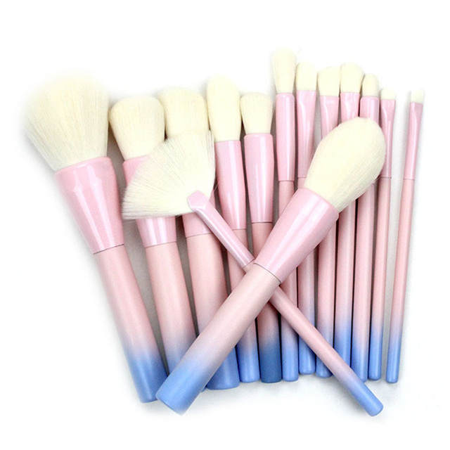 14 Piece Pink And Green Gradient Makeup Brush Sets