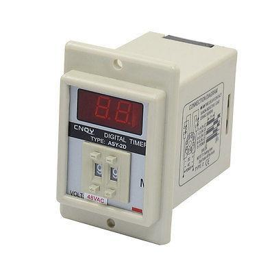 White AC 48V Power on Delay Timer Time Relay 0.1-9.9 Minute 8 Pins ASY-2D