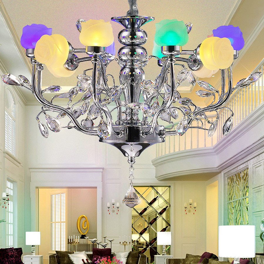 Creative 12 light source roses colorful chandeliers living room creative 12 light source roses colorful chandeliers living room bedroom chandelier restaurant hotel silver chandeliers in pendant lights from lights arubaitofo Gallery