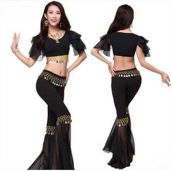 New crystal cotton and chiffon belly dance suit top speaker trousers women belly dance set colors sexy dance sets