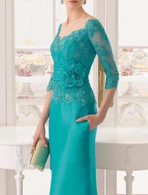Verde 2017 Mãe Da Noiva Vestidos Bainha 3/4 Mangas de Cetim Lace Flores Vestidos de Noite Longos Vestidos Mãe Para O Casamento