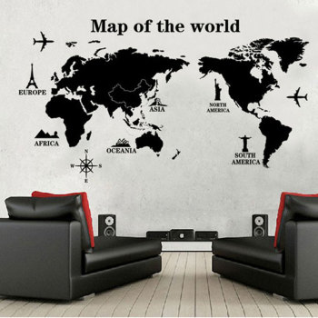 Poster Letter World Map Quote Scratch Map Vinyl Art Decal-Free Shipping Wall Stickers With Quotes