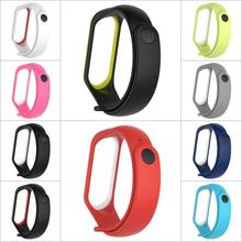 Newest Dual Color Silicone Replacement Wristband Watch Band Strap For MiBand 4 Mi 3 Xiaomi 4/3 Smart Bracelet