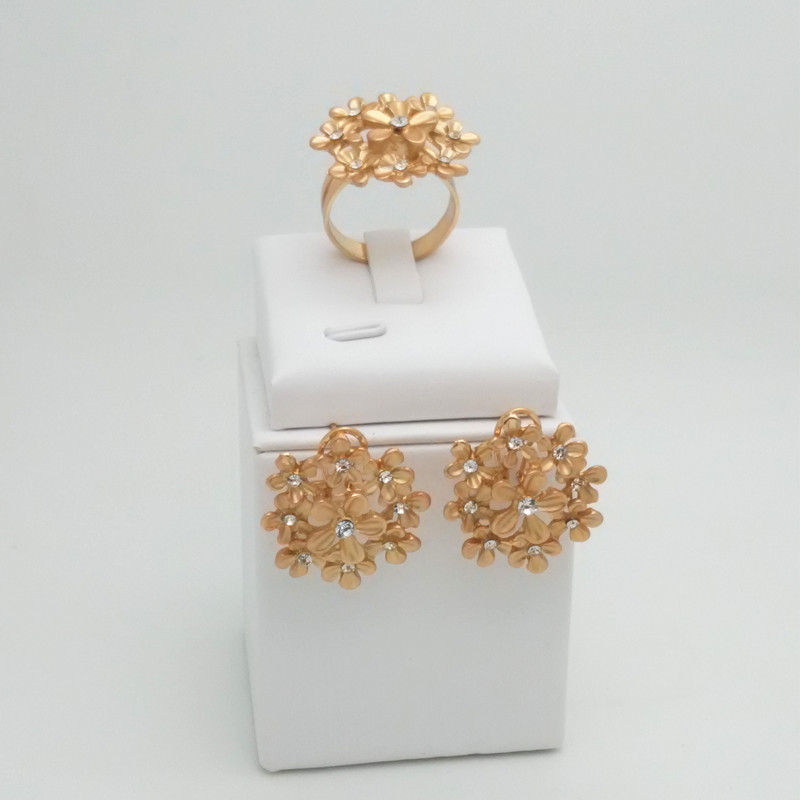 Kingdom Ma Nigerian Wedding Bridal African Gold Color Jewelry Set Dubai Necklace Bracelet Earrings Ring Sets