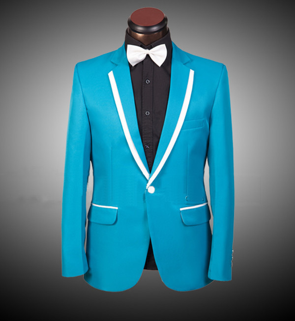 HOT! /pink! Red /blue /yellow men suit (Jacket + pants) male tuxedos ...