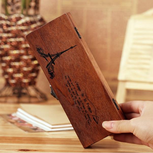 Gratis verzending retro oude houten pennenbakje houten sieraden doos - Home opslag en organisatie