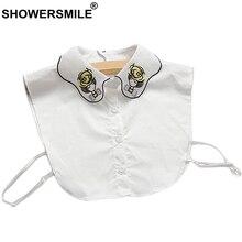 SHOWERSMILE Women Fake Shirt Collar Cotton Embroidery Detachable Collar White Blouse Removable Ladies Peter Pan False Collars