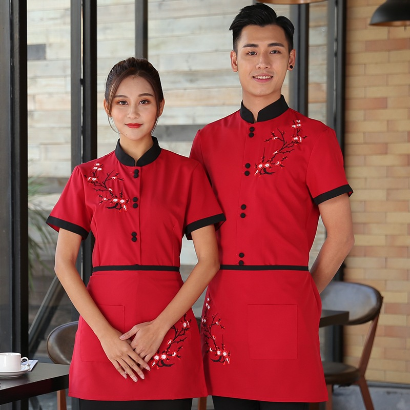 Waiters Work Clothes Summer Short Sleeve Waiter Uniforms Hotel Catering Fast Food Coffee Shop Workwear Western Hotel Clothes