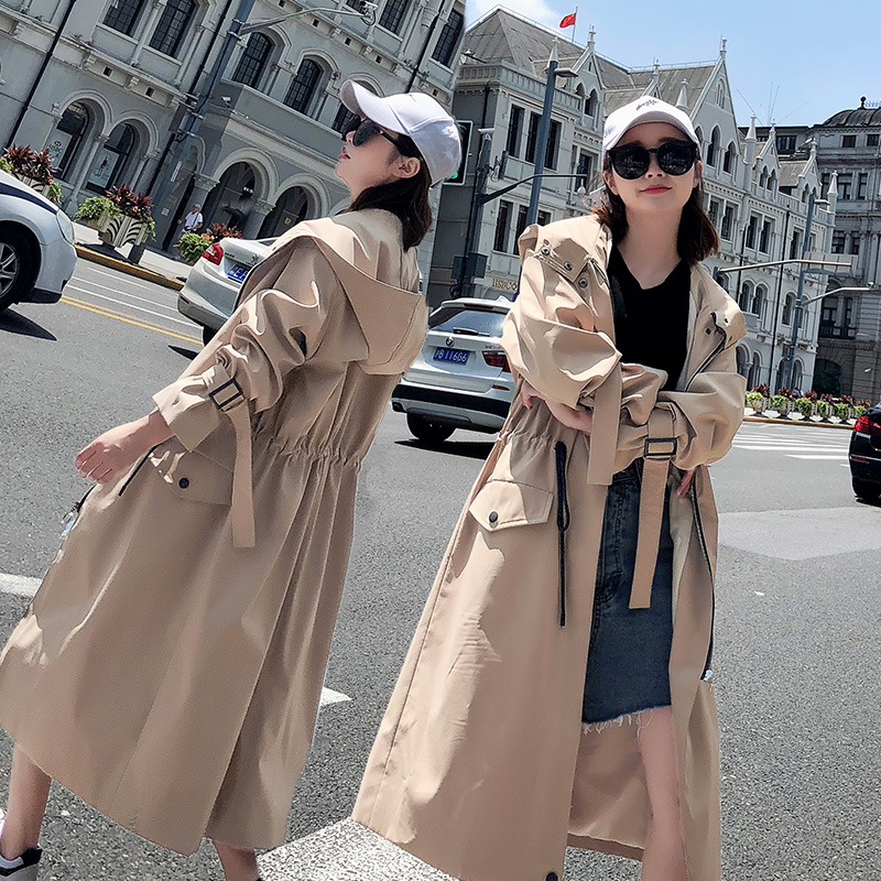 2019 Spring Atumn new Korean Loose windbreaker female drawstring waist Large Size Fashion port wind   Trench   Coats Women N697