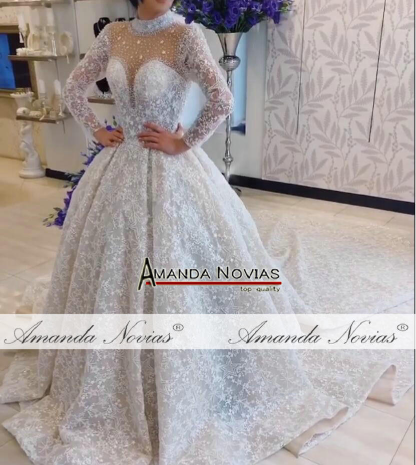 Image 4 - Amanda Novias brand wedding dress long sleeves  bride dress 2019Wedding Dresses   -