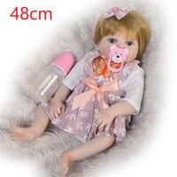 NPK 19inches 48CM Full Body Silicone Reborn Babies Doll lol Lifelike Newborn Princess Baby Doll Bonecas Bebe Reborn bathe Menina