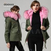 2016 Warm pink real fur collar jacket faux liner fur coat,China factory fur parka supplier wholesale price