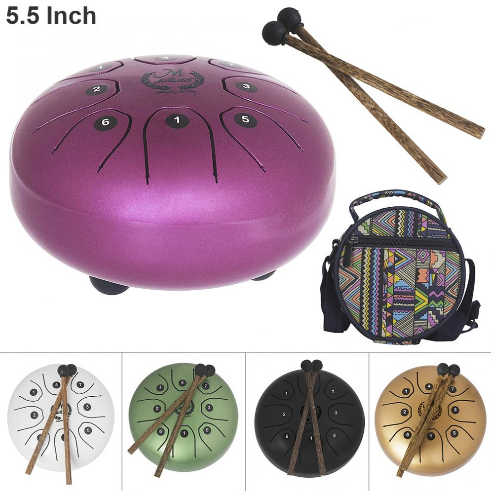 5.5 Inch Hand Size Tongue Drum 8 Notes with Bag and Drum Stick 5 Colors Optional jian ma stick out your tongue